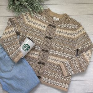 Susan Bristol fair isle wool cardigan sweater